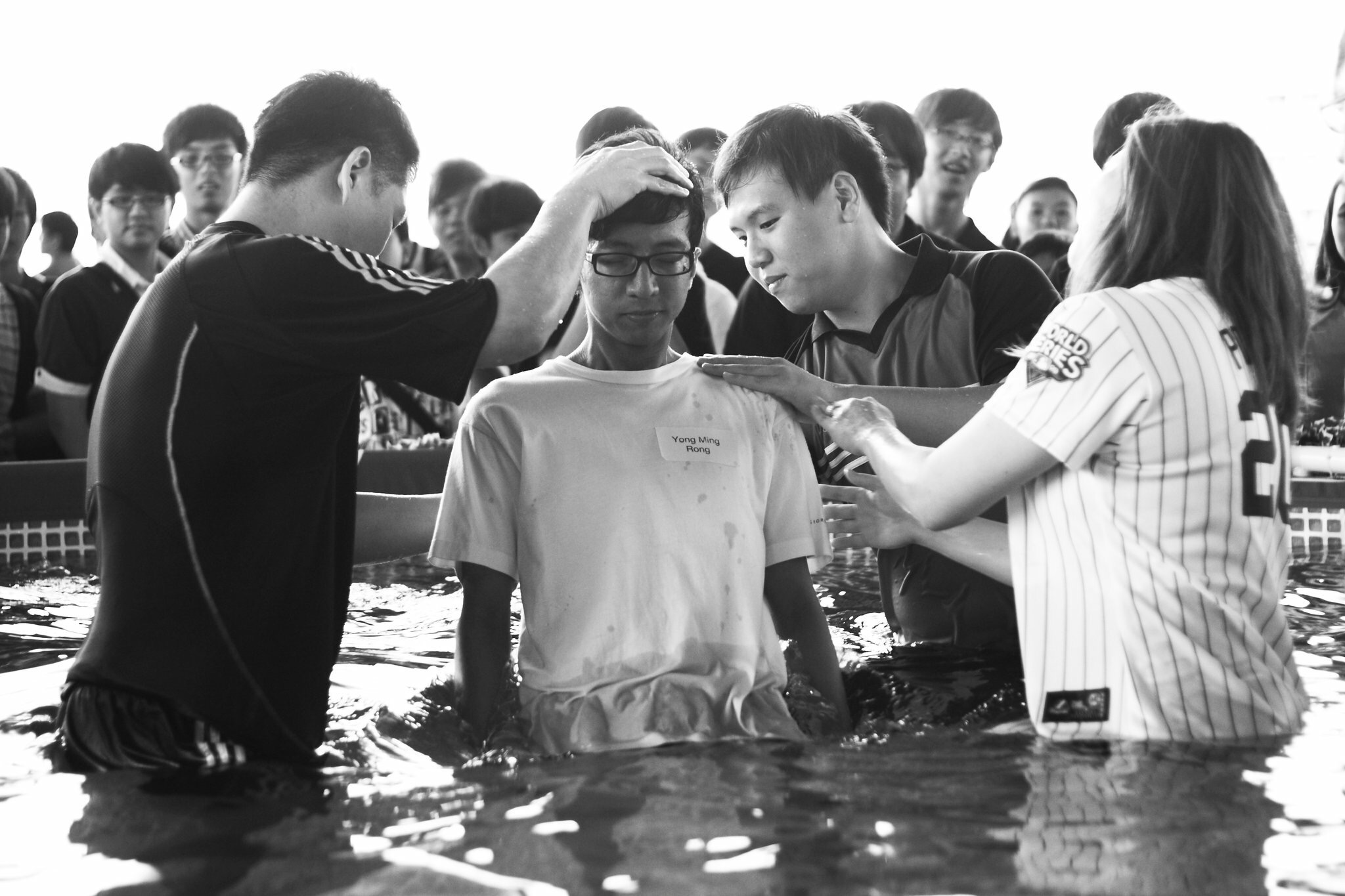 In the baptism pool with Pastor Tan Seow How and Pastor Cecilia Chan.